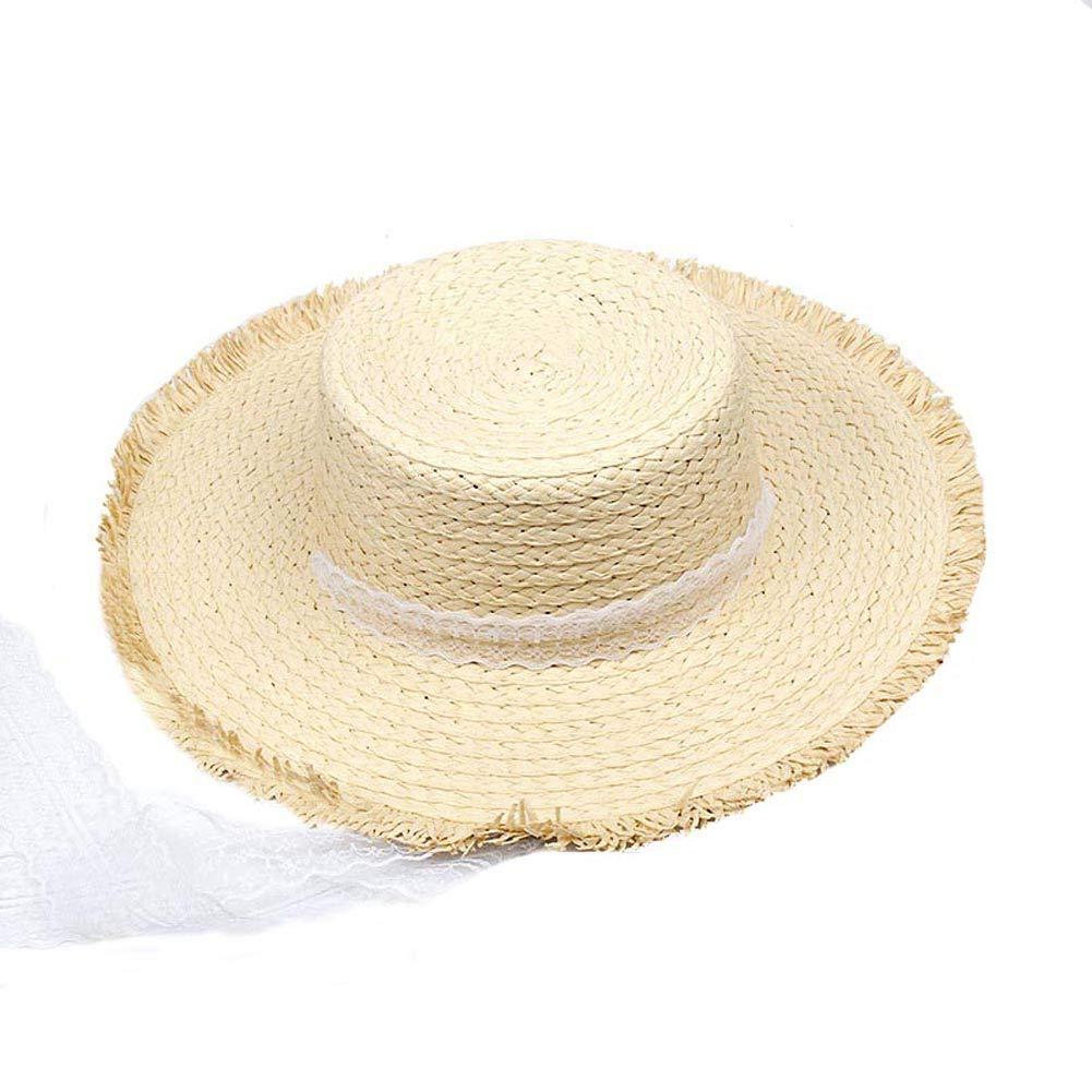BIBITIME Ribbon Tie Straw Hat Women Wide Brim Beach Sun Cap Mom Daughter Summer