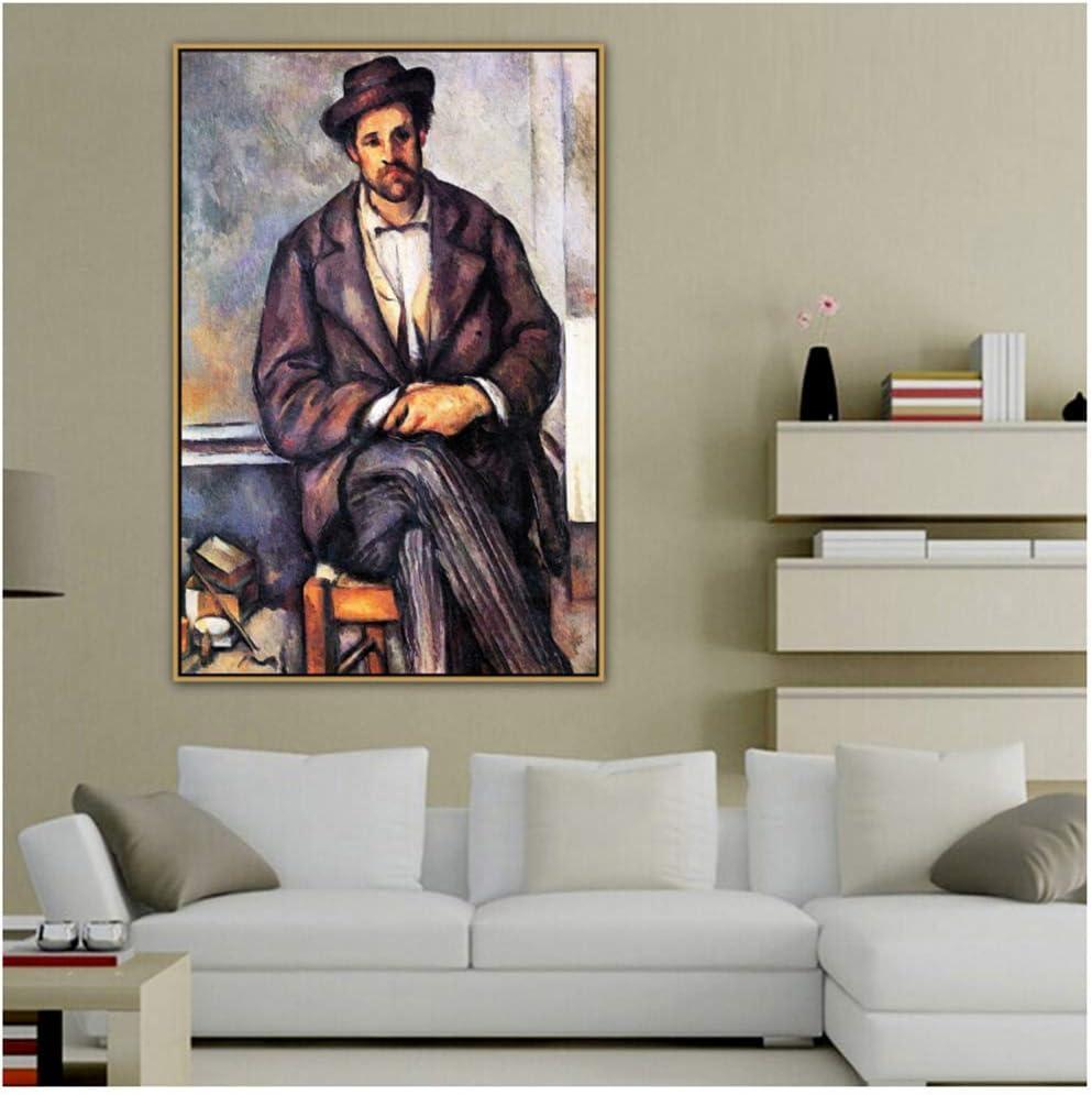 Paul Cézanne Viejo Famoso Maestro Artista Sentado Campesino Lienzo Pintura Cartel e Impresión para Decoración Arte de Pared -50x70cmx1pcs -Sin Marco