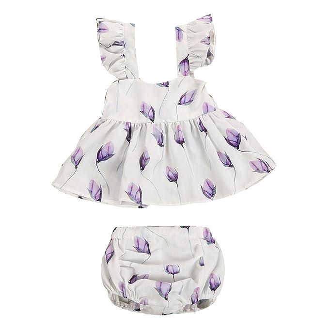 Hoplsen 2 PC Infantil Bebé Niña Vestidos Floral Volante fruncido Princesa Fiesta Pull-over Vestir