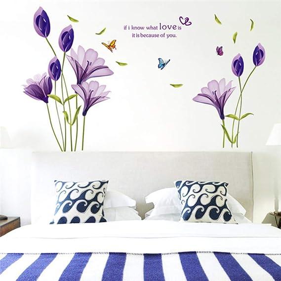 Pegatinas de pared Creativos Tulipanes Púrpura Flores 3D Para la ...