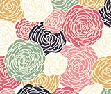 Vintage Inspired Seamless Floral Pattern with Colorful Roses by fleurpaperco - Custom Fabric with Spoonflower - Printed on Kona Cotton Fabric by the Yard