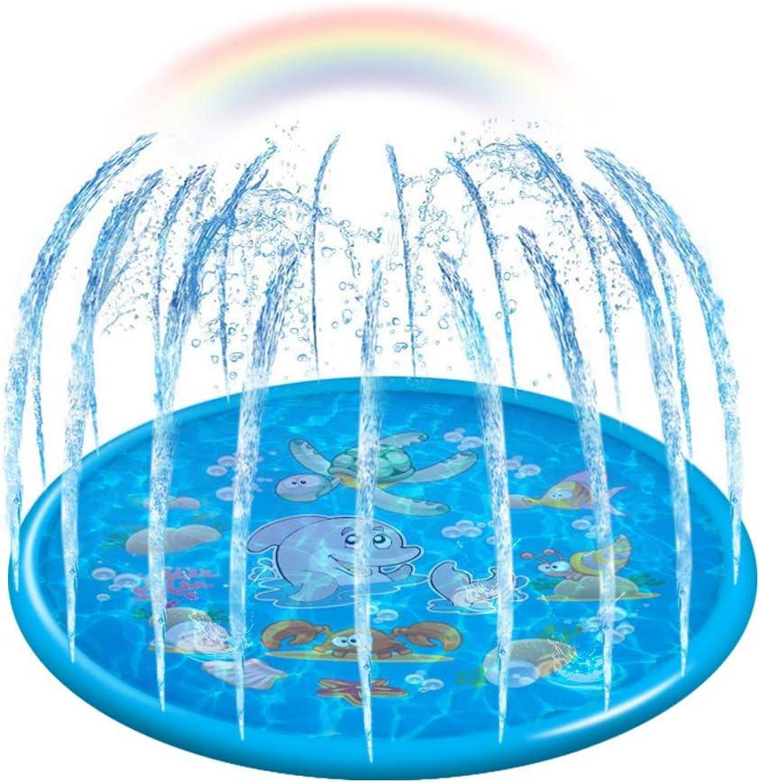 "econoLED Sprinkler Pad,Splash Play Wading Pool 68"" Sprinkle Summer Outdoor Party Water Toys Splash Play Mat Inflatable Water Toys Swimming Pool for 1-14 Years Old Toddlers Baby Kids Children(Blue)"