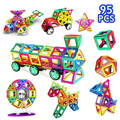 Magnetic Blocks, Magnetic Building Tiles Kit for Kids/ Girls/ Boys- Creative Educational Construction Eco Stacking Toys Magnetic Tile Set, 95 Pcs