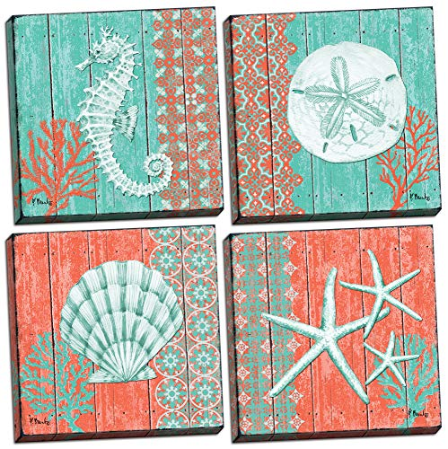 Gango Home Décor 4 Lovely Teal and Coral Ocean Seashell Sand Dollar Seahorse Star Fish Collage; Nautical Decor; Four 12 by 12-Inch Canvases