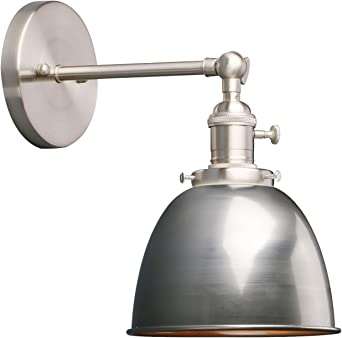 Phansthy Industrial Wall Light With On Off Switch Retro Wall Lamp With Dome Metal Shade E27 Indoor Wall Lighting Fixtures For Kitchen Bedroom Living Room Varnish Amazon Co Uk Lighting