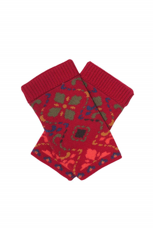 IVKO Geometric Flower Pattern Pullwarmers, Cherry
