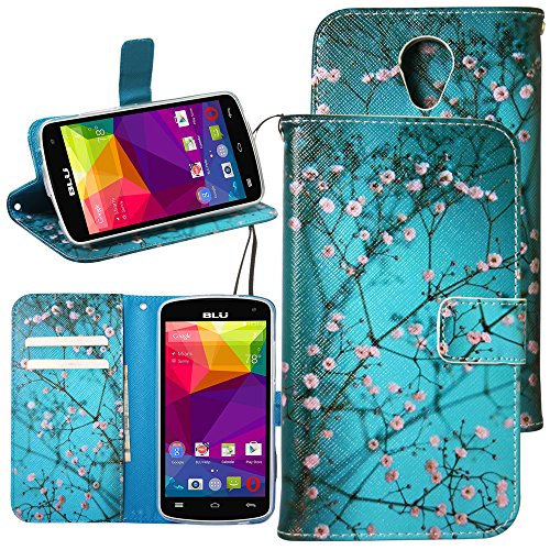 BLU Studio X8 HD Case, Linkertech PU Leather Wallet Case, Flip Book Cover with Magnetic Clasp, Foldable Kickstand, Card Slots and Money Pocket for BLU Studio X8 HD (Plum Blossom)