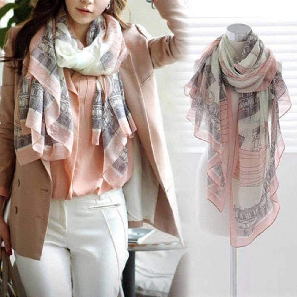 HOOXL Fashion Women Elegant Print Long Cotton Polyester Scarf Wrap Ladies Shawl Big Scarves