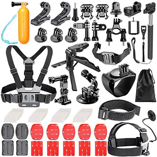 Neewer 62-in-1 Action Camera Accessory Kit for GoPro Hero 4/5 Session, Hero 7 6 5, DJI OSMO Action SJ4000/5000/6000/7000, Nikon, Sony Sports DV in Swimming Rowing Climbing Bike Riding Camping