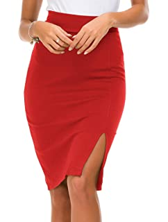 fc89730ed0 Womens Stretchy Nylon Spandex Bell Shaped Trumpet Pencil Skirt for Office  Wear Knee Long Mini. $19.96 · Urban CoCo Women's Elastic Waist Side Slit  Hem ...