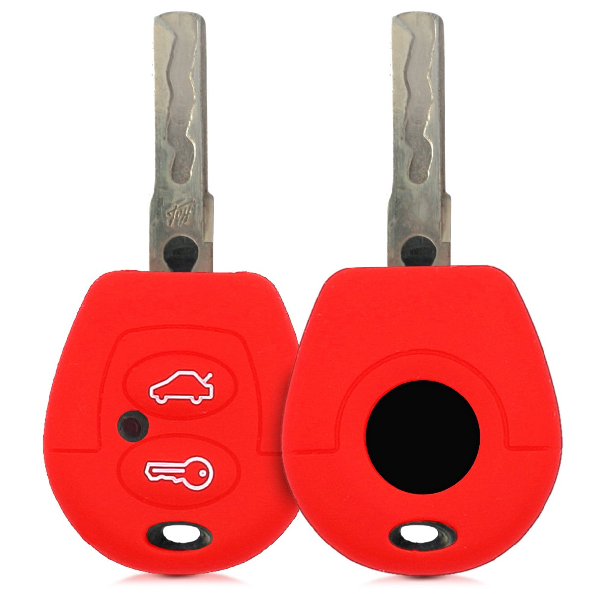 kwmobile VW Skoda Seat Car Key Cover - Silicone Protective Key Fob Cover for VW Skoda SEAT 2 Button Remote Control Car Key - Red KW-Commerce 43654.09_m000646
