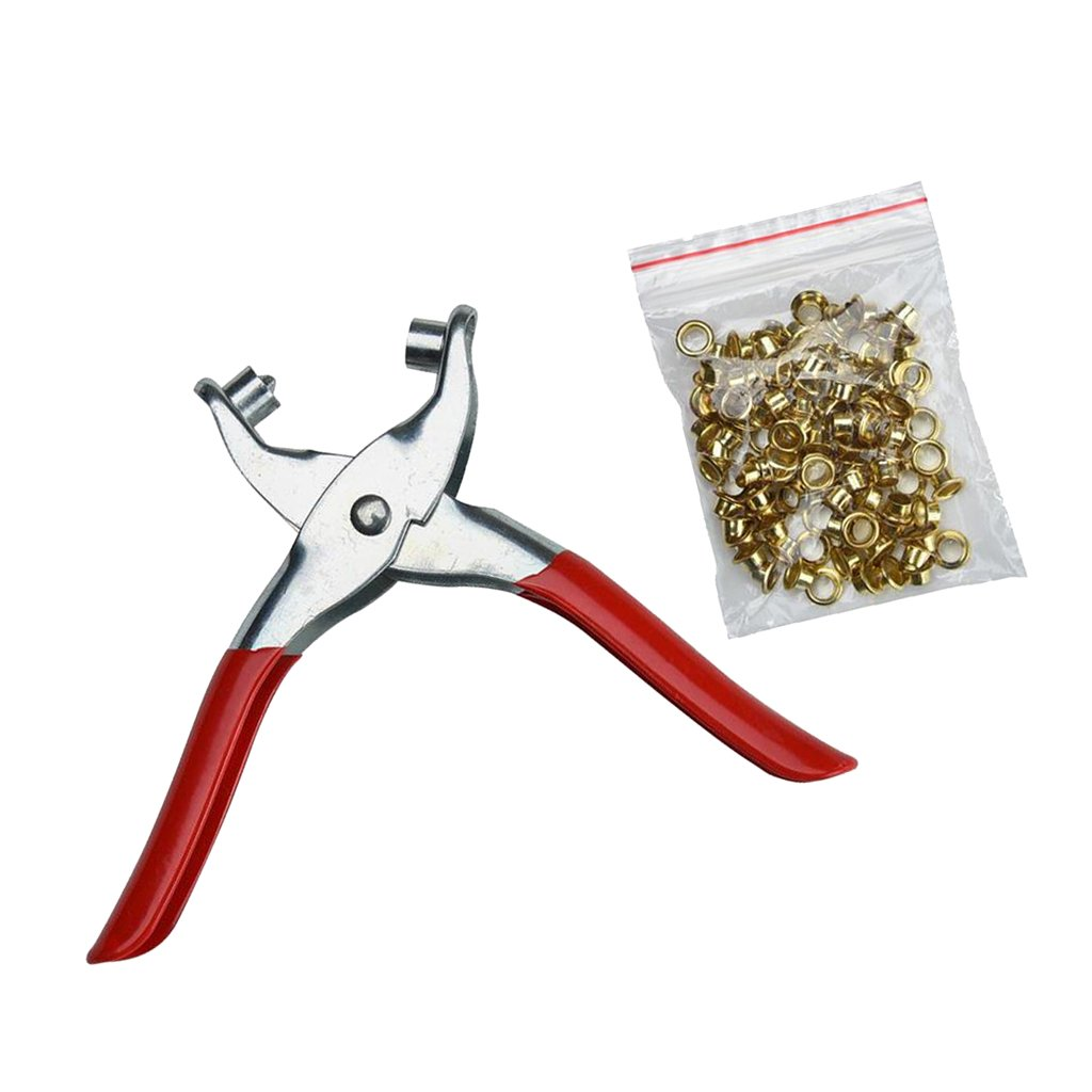 Eyelet Pliers Tool Kit Free 100 Brass Eyelets-Hole Makers//Leather Craft