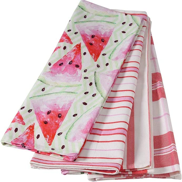 ANA Eco-Friendly 100% Cotton Highly Absorbent Kitchen Dish Cloth Towels | Watermelon Red- Pink| Set of 4 | Stripe and Check Pattern | 20x28 inch | Designed to Make Your Kitchen More Alluring