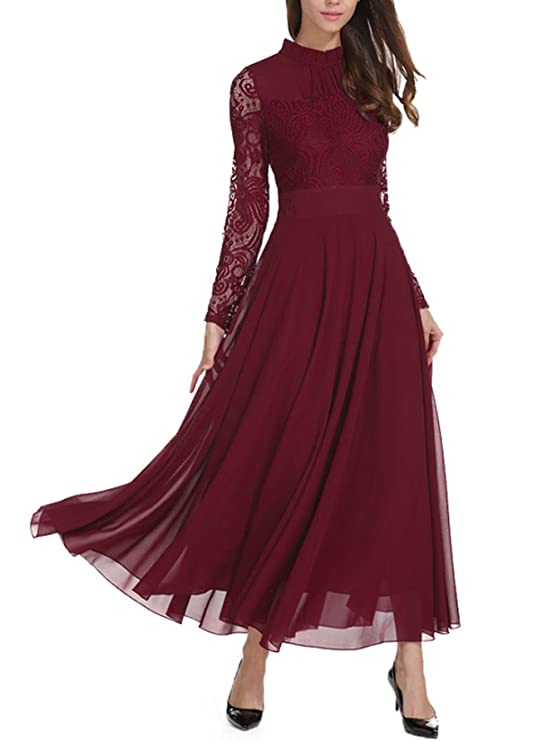 5a21f0ee3634a Milumia Women's Vintage Floral Lace Long Sleeve Ruched Neck Flowy Long Dress  at Amazon Women's Clothing store:
