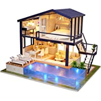UniHobby DIY Miniature Dollhouse Kit Time Apartment DIY Dollhouse Kit with Wooden Furniture Light Gift House Toy