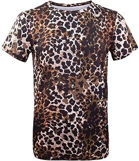 f5229d5d7698 Amazon.com: uxcell Men Short Sleeve Round Neck Leopard Print T Shirt ...