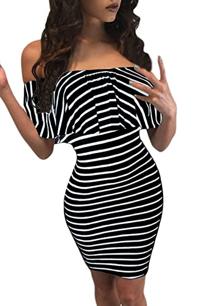 475bf502b9ef Chase Secret Womens Off Shoulder Striped Evening Party Cocktail Dress  X-Large Black