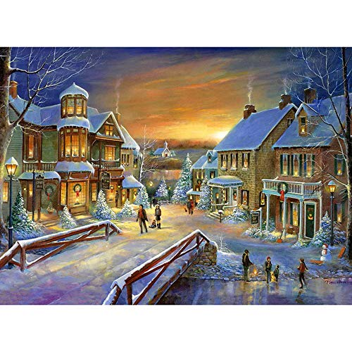 Chenway Christmas Diamond Painting Kit 5D for Adults, 3D DIY Full Drill Accessories Decor Large Paintings Kits Ornaments, Round Rhinestone Home Wall Art Decoration 40x30cm/ 30x30cm (B)