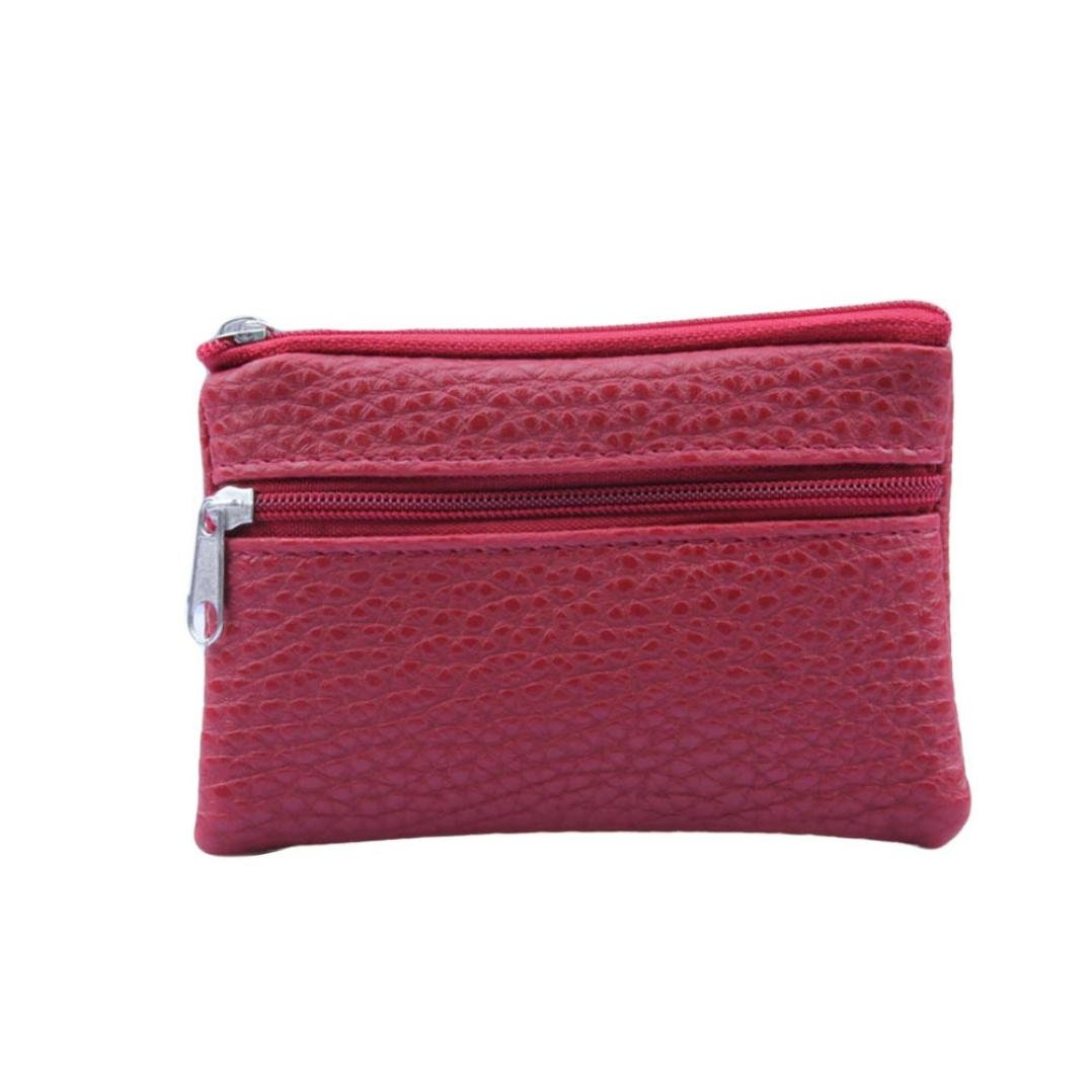 Women Men Bag Leather Wallet Multi Functional Zipper Leather Coin Purse Card Wallet (Red)