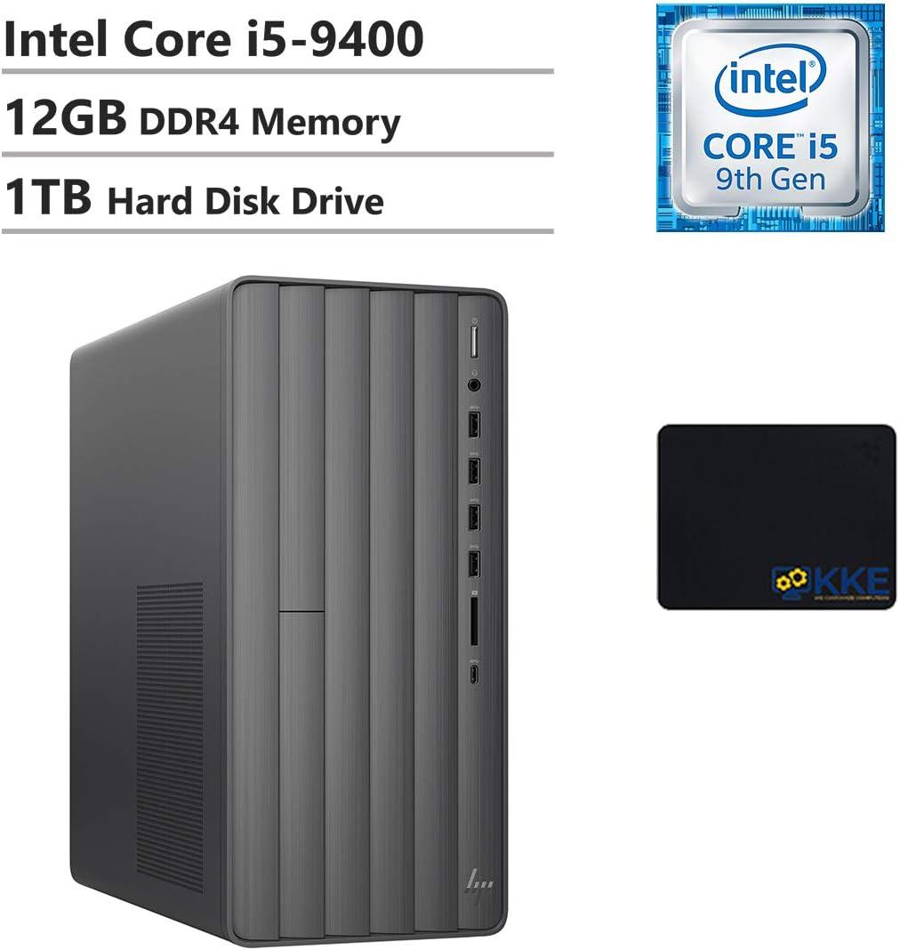 HP Envy Desktop Computer, 9th Intel Core i5-9400 2.90GHz, 12GB DDR4 RAM, 1TB Hard Disk Drive, WiFi, HDMI, DVD-RW, KKE Mousepad, Win10