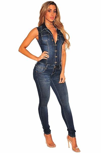 TieNew 2018 Mujer Sexy Jeans Monos de Vaquero con Mangas Jeans para Mujer  Jumpsuit Largo y 3358aec96a5