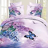 Alicemall 3D Bedding Set Charming Butterfly and Purple Hyacinth Flower Print 4-Piece 100% Cotton Duvet Cover Sets, Duvet Cover, Flat Sheet, 2 Pillowcases (California King)