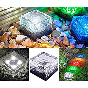 Best to Buy 6-Pack RGB Brick Light Solar Ice Light Ice Cube Lights Buried Light Paver for Garden Courtyard Pathway Patio Pool Pond Outdoor Decoration