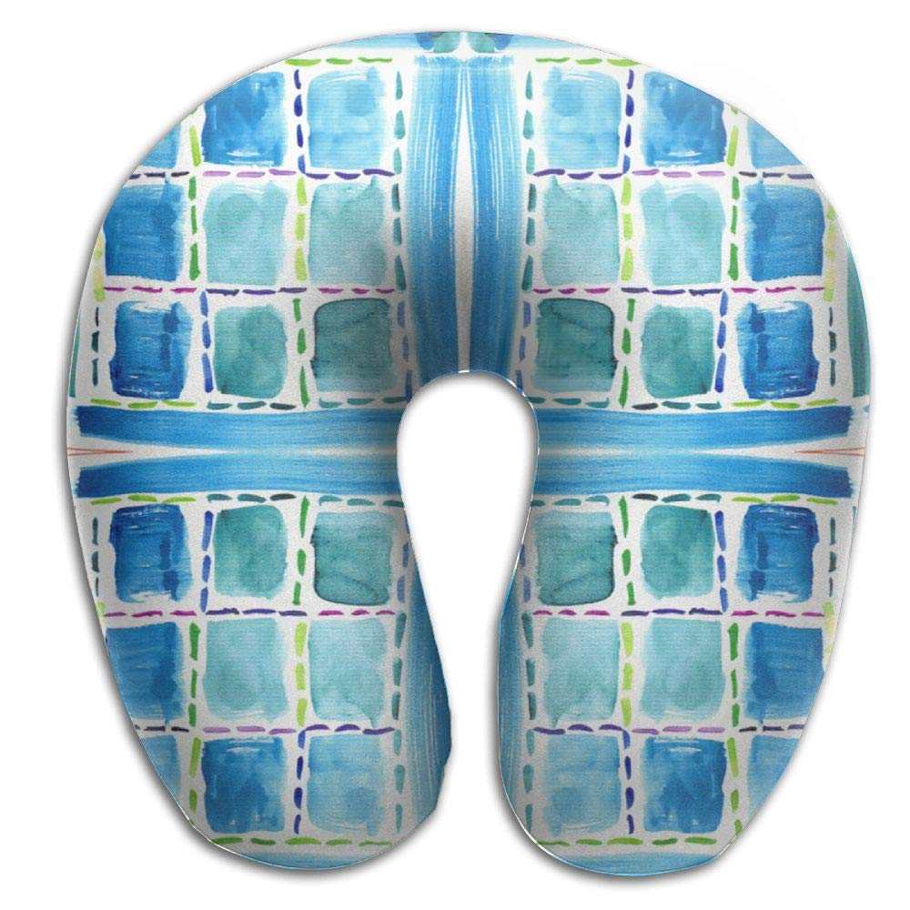 HGBAk Chin Supporting Travel Neck Pillow - Blue Windows Fabric 2736(2470) Print,Neck and Chin in in Any Sitting Position