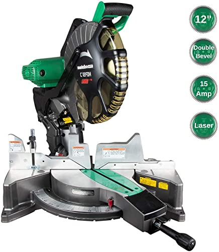Metabo HPT 12-Inch Compound Miter Saw, Laser Marker System, Double Bevel, 15-Amp Motor, Tall Pivoting Aluminum Fence, 5 Year Warranty C12FDHS