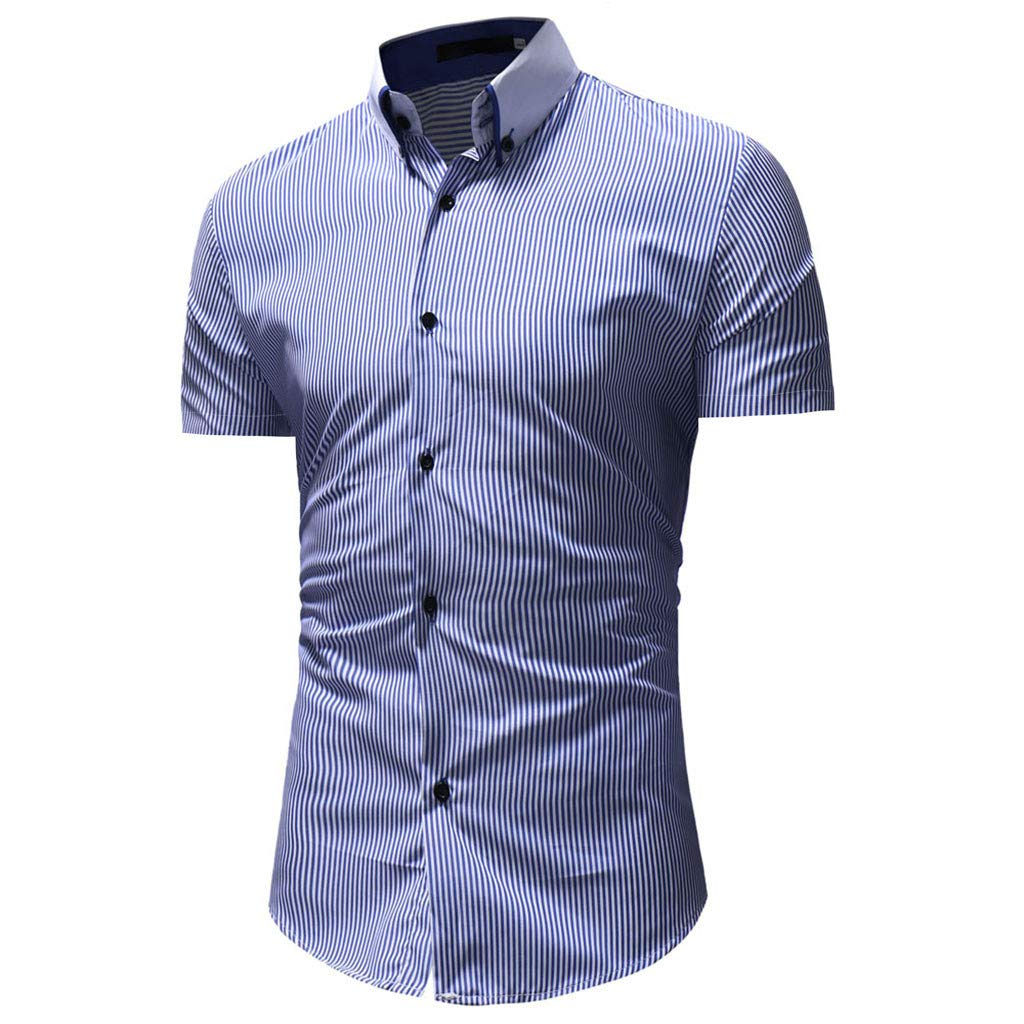 Pandaie Mens Blouse Shirts Mens Striped Casual Button Down Short Sleeve Shirt Top Blouse