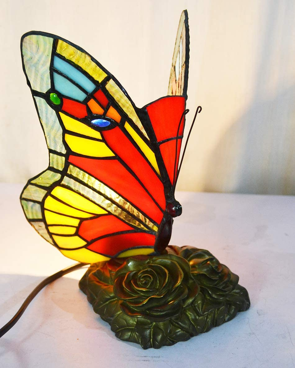 HUIMEIJU Tiffany Butterfly Light Room Lighting Study Bookcase Decoration Table lamp HMJ8009