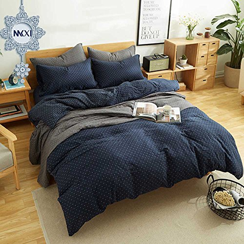 MKXI Simple Bedroom Collection 3 Pieces Navy King Size Duvet Cover Set,Cross (Cover Iron Cross)