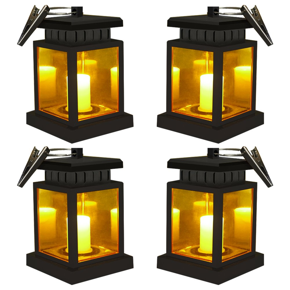 Honor-Y 4 Pack Hanging Solar Lantern Lights, Solar Powered Lanterns Outdoor Waterproof Hanging Lamp Candle Lantern Lights with Clamp for Umbrella Beach Tree Pavilion Garden Yard (Yellow Light)