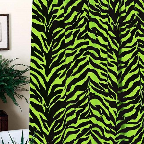Lime Green Zebra Shower Curtain and Matching Window Valance/Drape Set (1 Shower Curtain, 1 Valance/Drape Set) Decorate your Bathroom and SAVE BIG ON BUNDLING!