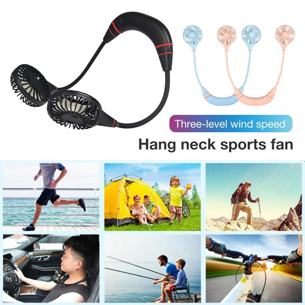 franktea Hands-Free Fan Necklace Hand Held Fan USB Charged Mini Fan Built-In Rechargeable Battery Portable USB Personal Fan With USB Cable For Outdoor Walking Sports Traveling Hiking
