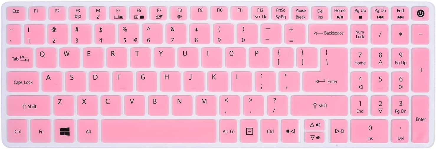 Keyboard Cover for Acer Aspire E15 E5-576 E5-576G E5-575 E5-573G ES15 ES1-572 / Aspire E 17 E5-772G / Aspire V15 VN7-592G/V17 VN7-792G/F15 F5-571 F5-573G / Aspire A315 A515 A715, Light Pink