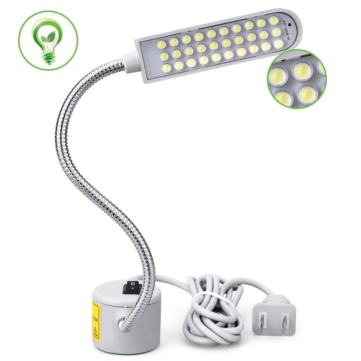 JANSANE Sewing Machine Light LED Lighting (30LEDs) 2 Watt Multifunctional Flexible Gooseneck Arm Work Lamp with Magnetic Mounting Base for Workbench Lathe Drill Press Silver