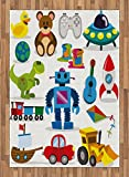 Boy's Room Area Rug by Lunarable, Cute Robot Bear and Other Toys Dinosaur Controller Sapce Craft Paint Images, Flat Woven Accent Rug for Living Room Bedroom Dining Room, 5.2 x 7.5 FT, Multicolor
