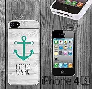 Beach Teal Anchor Refuse to Sink Custom made Case/Cover/skin FOR iPhone 4/4s -White- Plastic Snap On Case ( Ship From CA)