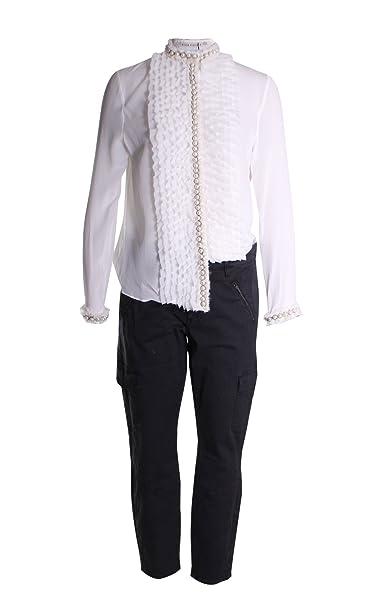1bda9a3f7de4f Alice   Olivia Arminda Silk Ruffled Faux Pearl Trimmed Blouse Top in Off  White Size M