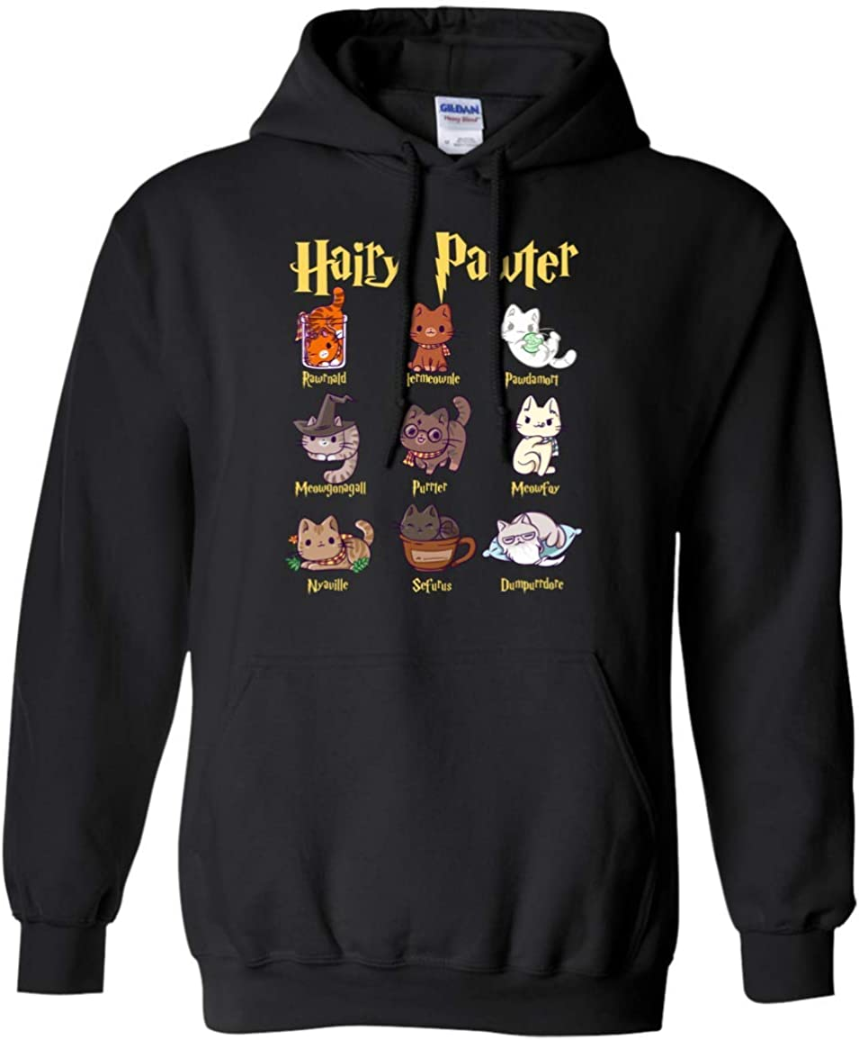 PRPinkRain Vintage Funny Hairy Pawter Hoodie T Shirt for Cat Lovers Potter Cats ShirtHoodie Swater T Shirt