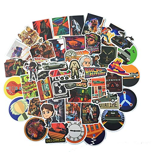 🥇 50pcs Back to The Future Fans Stickers for Laptop Water Bottle Luggage Snowboard Bicycle Skateboard Decal for Kids Teens Adult Waterproof Aesthetic Stickers