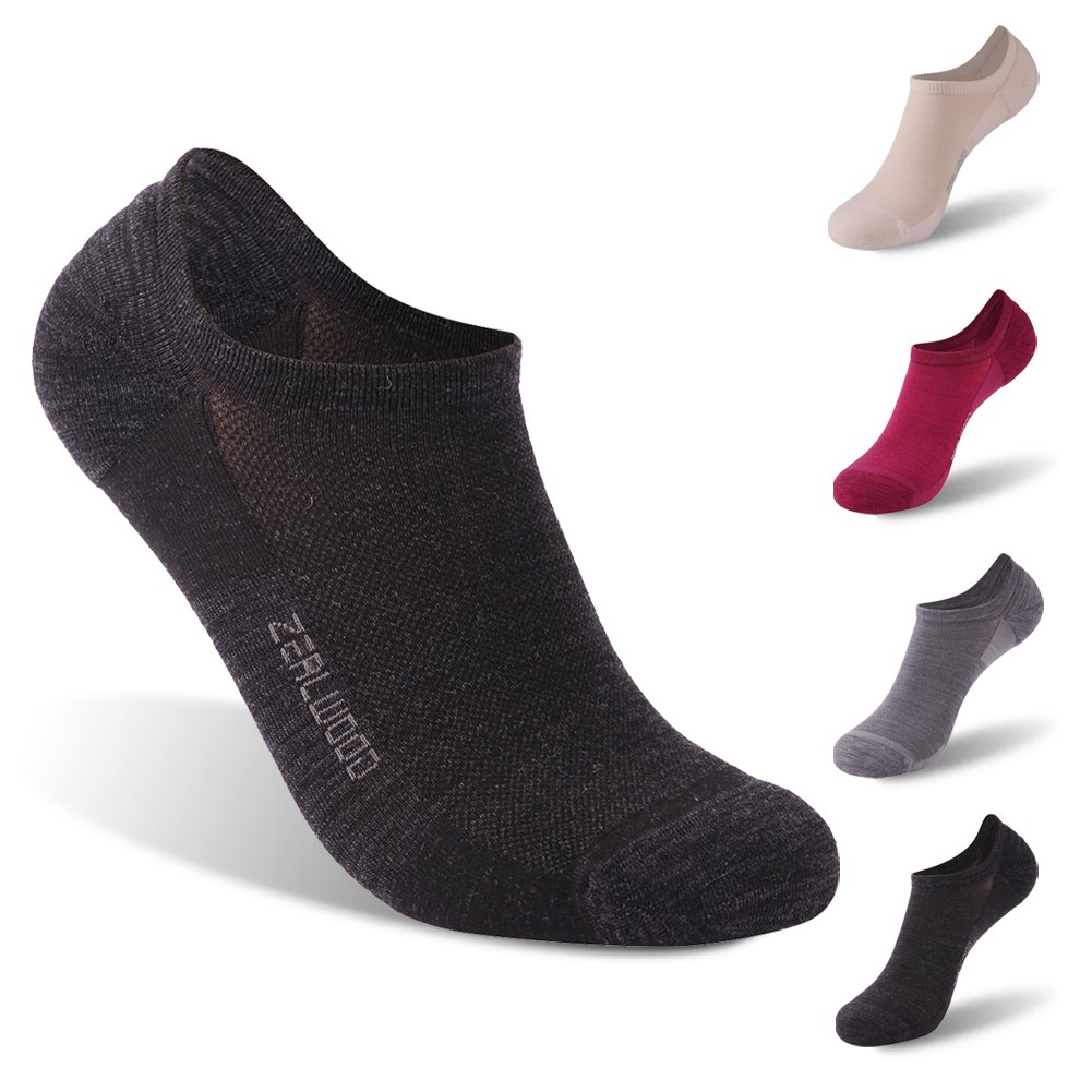 ZEALWOOD Merino Wool Socks, Anti Blister No Show Running Socks Socks Women and Men Kids Athletic Socks