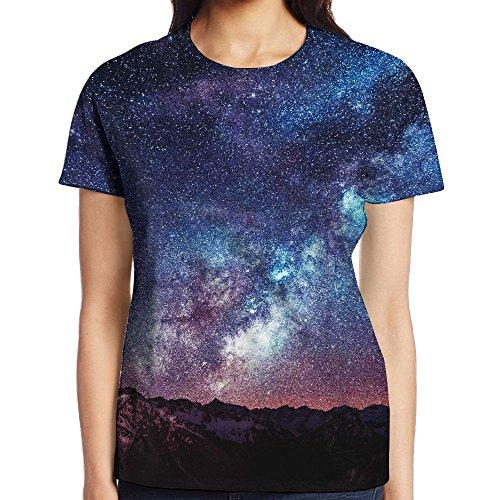 Womens Galaxy Space Cozy T-Shirt Short Sleeve Gym - Casuarina Shopping