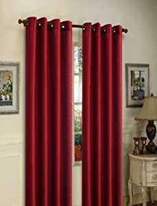 "Gorgeous Home 1 Panel Solid Burgundy SEMI Sheer Window Faux Silk Antique Bronze Grommets Curtain Drapes MIRA (84"" Length)"