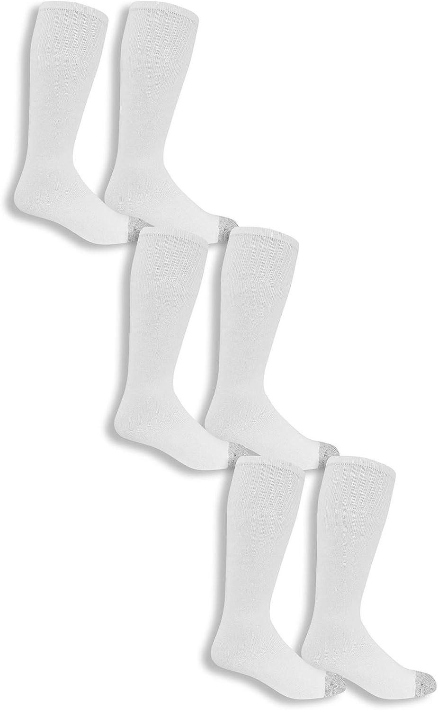 Fruit Of The Loom Mens Work Gear Tube Socks 6 Pairs Size 6-12