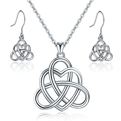8cadf1d6d Amazon.com: WANZIJING 925 Sterling Silver Set Celtic Knot Pendant Necklace  Earrings Set Discover Your Beautiful Heart Jewellery Sets with 18