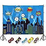 OurWarm 5 x 7ft City Photography Backdrop and Superhero Party Masks for Kids Birthday Party Decoration, Studio Superhero Photography Background
