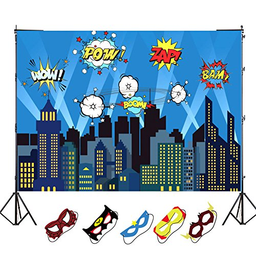 OurWarm 5 x 7ft City Photography Backdrop and Superhero Party Masks for Kids Birthday Party Decoration, Studio Superhero Photography Background by OurWarm