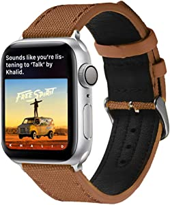 LS Compatible with Apple Watch Band, Woven Fabric and Sweatproof Leather Hybrid Band Strap Compatible with iWatch Series 4 Series 3 Series 2 Series 1 Sport Edition (Retro Brown, 42mm/44mm)